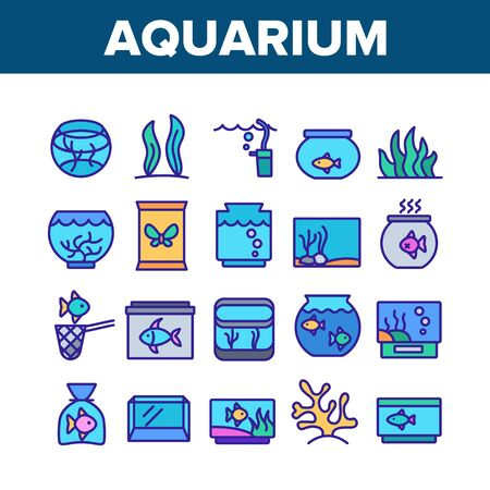 Aquarium Fish Decor Collection Icons Set Vector Thin Line. Seaweed And Coral For Decorate Aquarium, Clean Stick And Water Bubble Pump Concept Linear Pictograms. Color Contour Illustrations