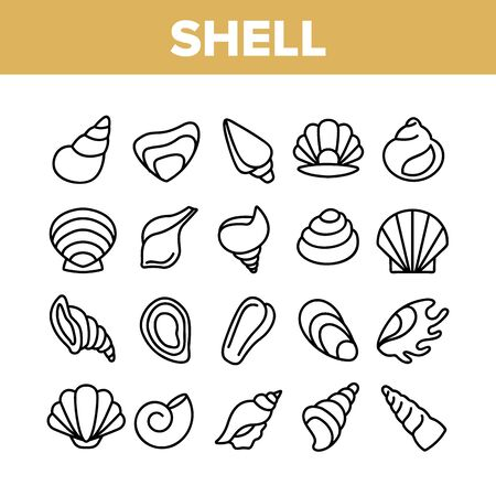 Shell And Marine Conch Collection Icons Set Vector Thin Line. Nature Ocean Shell For Shellfish, Aquatic Decorative Seashell And Cockleshell Concept Linear Pictograms. Monochrome Contour Illustrations