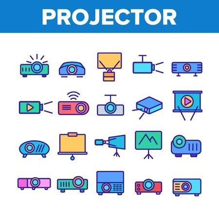 Projector Equipment Collection Icons Set Vector Thin Line. Electronic Device Video Projector And Projection Screen For Watch Film Concept Linear Pictograms. Color Contour Illustrations
