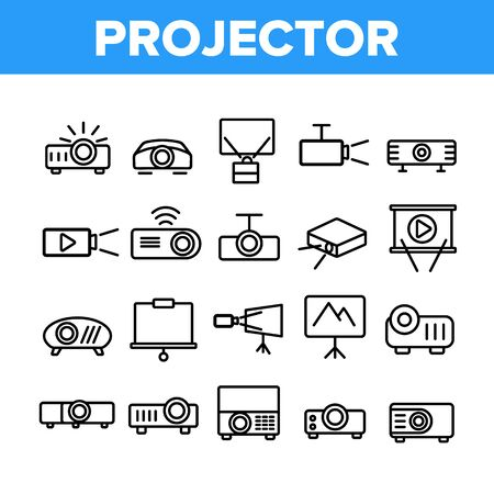 Projector Equipment Collection Icons Set Vector Thin Line. Electronic Device Video Projector And Projection Screen For Watch Film Concept Linear Pictograms. Monochrome Contour Illustrations