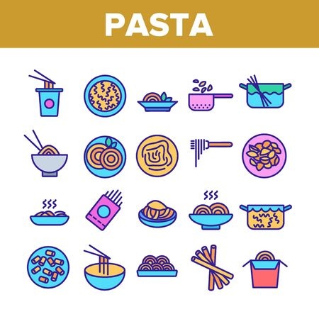 Pasta Dish Gastronomy Collection Icons Set Vector Thin Line. Chinese Pasta In Cup With Chopsticks, Spaghetti On Plate And in Bowl, Nutrition Concept Linear Pictograms. Color Contour Illustrations 向量圖像