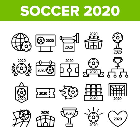 Soccer Champion 2020 Collection Icons Set Vector Thin Line. Football World Champion 2020 Goblet, Game Equipment Ball And Gate Concept Linear Pictograms. Monochrome Contour Illustrations