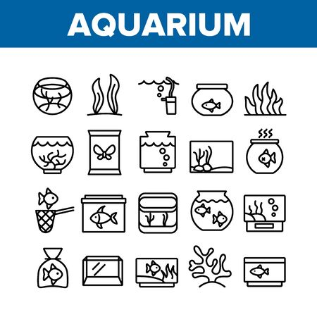 Aquarium Fish Decor Collection Icons Set Vector Thin Line. Seaweed And Coral For Decorate Aquarium, Clean Stick And Water Bubble Pump Concept Linear Pictograms. Monochrome Contour Illustrations Illustration
