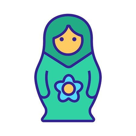 Matreshka icon vector. Thin line sign. Isolated contour symbol illustration
