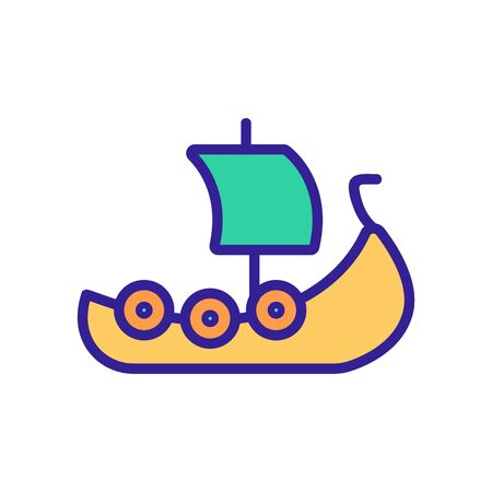 Viking ship icon vector. Thin line sign. Isolated contour symbol illustration