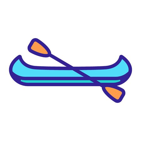 boat with paddles icon vector. Thin line sign. Isolated contour symbol illustration Stock Illustratie