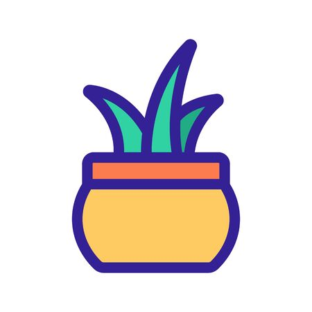 Flower in a pot icon vector. A thin line sign. Isolated contour symbol illustration