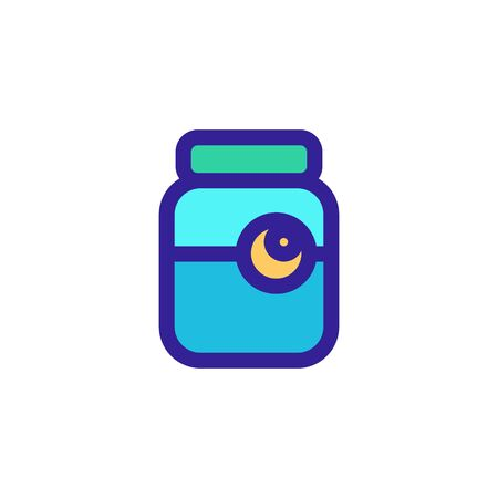Eye in the bank icon vector. A thin line sign. Isolated contour symbol illustration