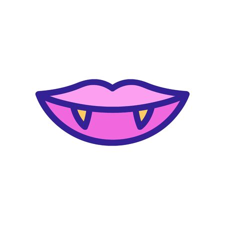 Vampire icon fangs vector. A thin line sign. Isolated contour symbol illustration