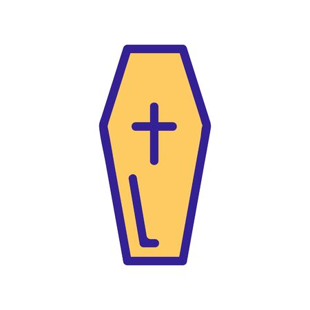 coffin icon vector. A thin line sign. Isolated contour symbol illustration Иллюстрация