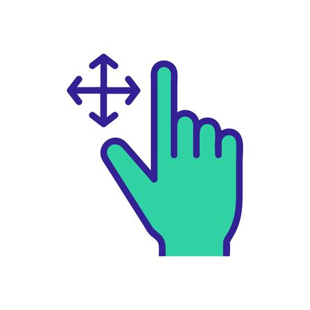control on the touchscreen icon vector. A thin line sign. Isolated contour symbol illustration