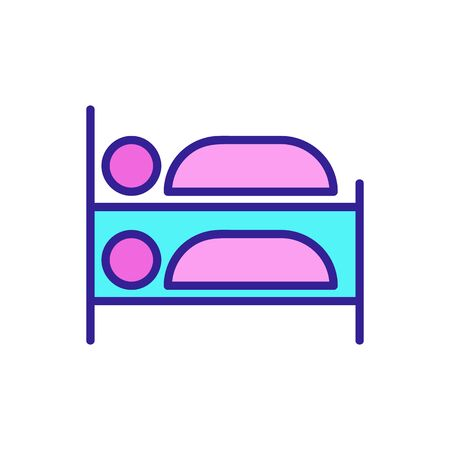 a bunk bed icon vector. A thin line sign. Isolated contour symbol illustration