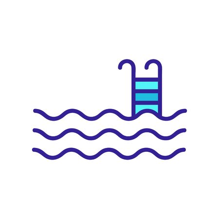 steps in the pool icon vector. A thin line sign. Isolated contour symbol illustration