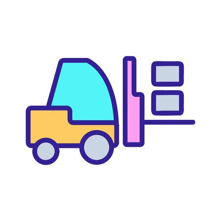 The forklift icon vector. A thin line sign. Isolated contour symbol illustration