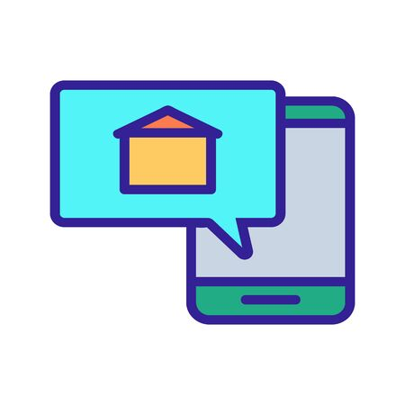 mobile alert about the sale of the building icon vector. A thin line sign. Isolated contour symbol illustration