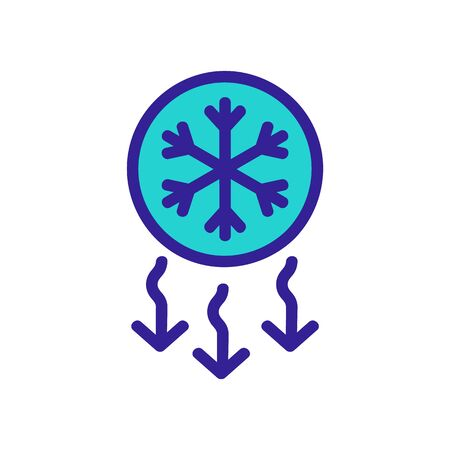 Reducing the temperature of the icon vector. A thin line sign. Isolated contour symbol illustration