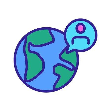 man and earth icon vector. A thin line sign. Isolated contour symbol illustration Archivio Fotografico - 139128492