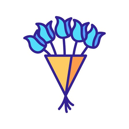 bouquet of tulips icon vector. A thin line sign. Isolated contour symbol illustration Illustration
