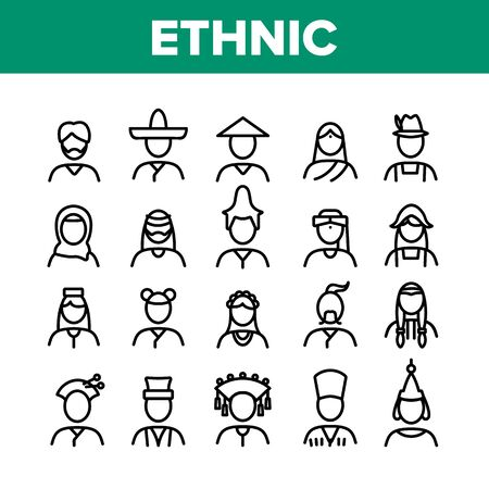 Ethnic World People Collection Icons Set Vector. Chinese And Indian, Cossack And Kazakh, Indian And Japanese, Georgian And Arab Ethnic Human Concept Linear Pictograms. Monochrome Contour Illustrations Çizim