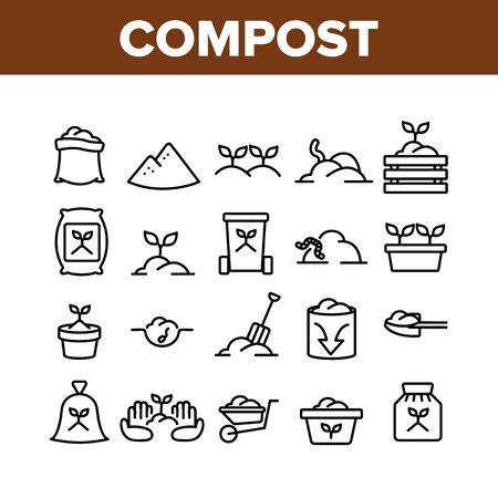 Ensemble d'icônes de collection de sol au sol de compost Vector. Compost organique agricole dans le sac et le chariot, plante croissante dans le concept de pot et de ver Pictogrammes linéaires. Illustrations de contours monochromes