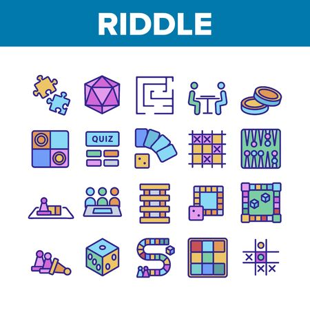 Riddle Play Equipment Collection Icons Set Vector Thin Line. Riddle Board Game, Puzzle With Entry And Exit, Backgammon And Tic Tac Toe Concept Linear Pictograms. Color Contour Illustrations