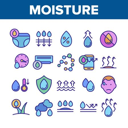Moisture Water Drop Collection Icons Set Vector Thin Line. Moisture Diaper Air Conditioner, Phone Protection And Rainy Cloud Concept Linear Pictograms. Color Contour Illustrations