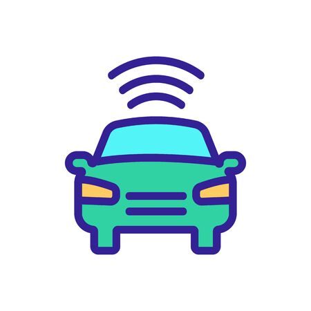 Smart car icon vector. A thin line sign. Isolated contour symbol illustration