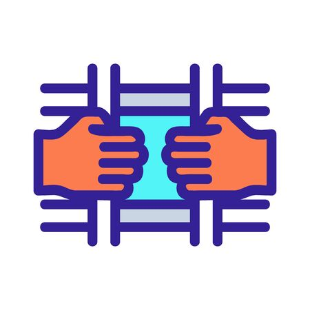 man behind bars icon vector. A thin line sign. Isolated contour symbol illustration
