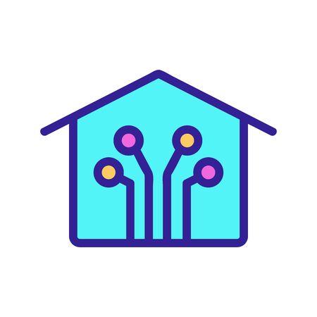 Smart house icon vector. A thin line sign. Isolated contour symbol illustration Illusztráció