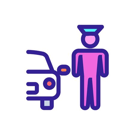 Car and doorman vector icon. A thin line sign. Isolated contour symbol illustration
