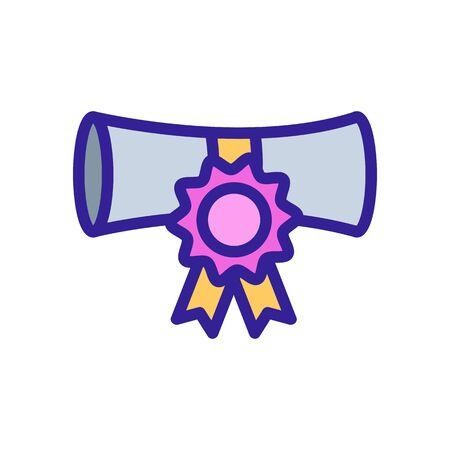 Diplom-Symbol-Vektor. Ein dünnes Linienzeichen. Isolierte Kontursymbolillustration