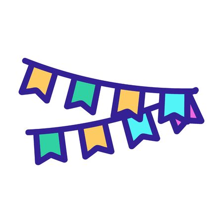 Garlands to decorate the icon vector. A thin line sign. Isolated contour symbol illustration Ilustração