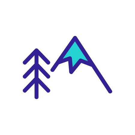 mountain and Christmas tree icon vector. A thin line sign. Isolated contour symbol illustration