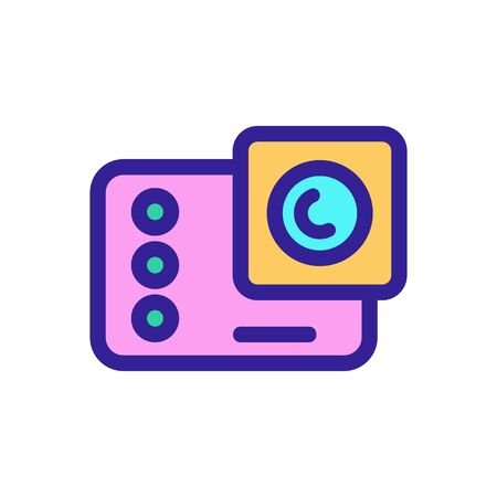 Action camera icon vector. A thin line sign. Isolated contour symbol illustration