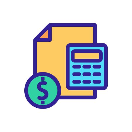 counting the financial report icon vector. A thin line sign. Isolated contour symbol illustration