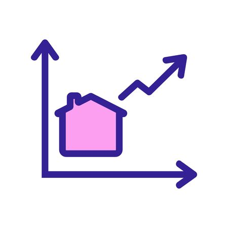Real estate growth chart is an icon vector. A thin line sign. Isolated contour symbol illustration