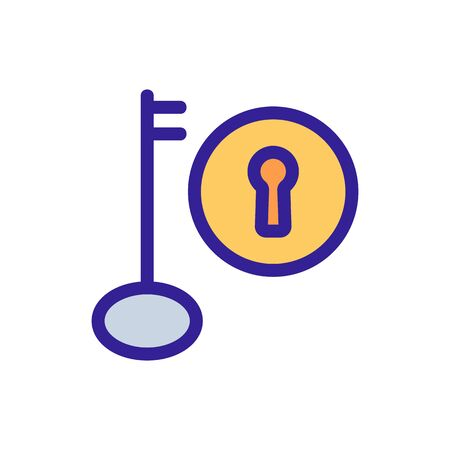 Lock and key icon vector. A thin line sign. Isolated contour symbol illustration