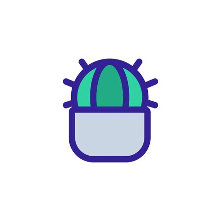 Homemade cactus icon vector. A thin line sign. Isolated contour symbol illustration