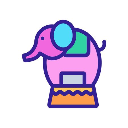 Circus elephant icon vector. A thin line sign. Isolated contour symbol illustration