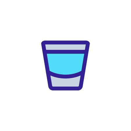 glass with whiskey icon vector. A thin line sign. Isolated contour symbol illustration