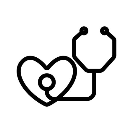 Stethoscope and heart icon vector. Thin line sign. Isolated contour symbol illustration