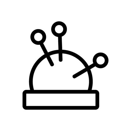 needle pillow icon vector. Thin line sign. Isolated contour symbol illustration