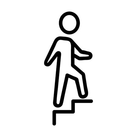 businessman steps icon vector. Thin line sign. Isolated contour symbol illustration