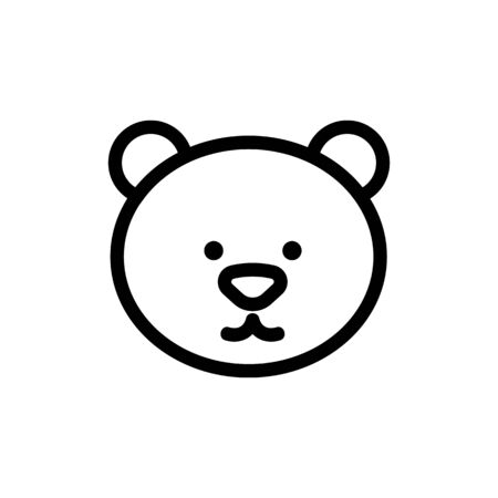 Bear icon vector. Thin line sign. Isolated contour symbol illustration