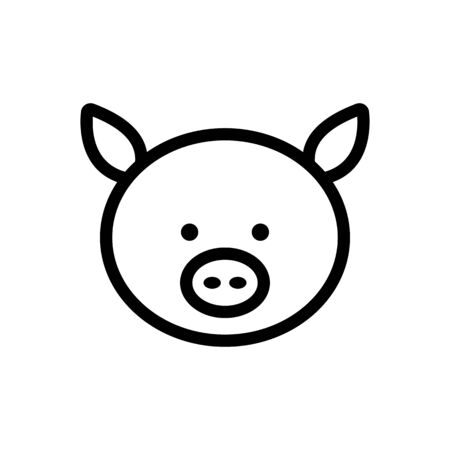Pig icon vector. Thin line sign. Isolated contour symbol illustration 일러스트
