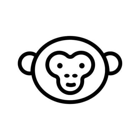 Monkey icon vector. Thin line sign. Isolated contour symbol illustration