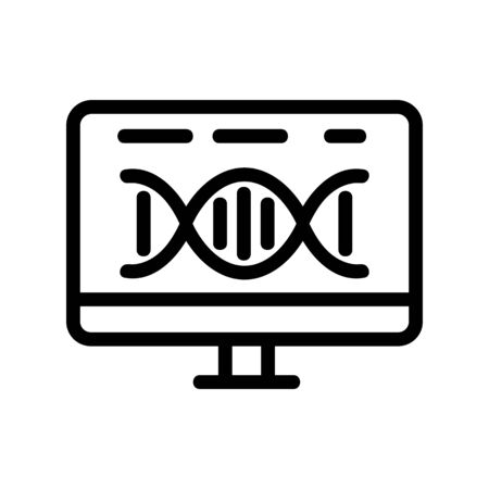 dna monitor icon vector. Thin line sign. Isolated contour symbol illustration