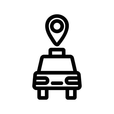Taxi car icon vector. Thin line sign. Isolated contour symbol illustration