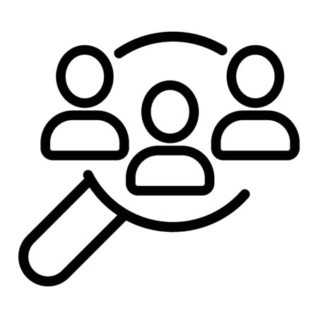 Search for employee vector icon. Thin line sign. Isolated contour symbol illustration