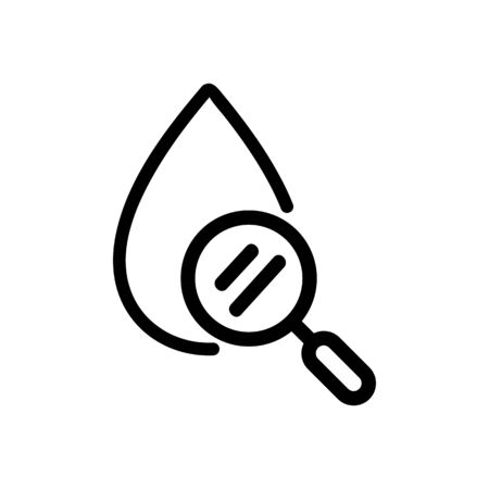 the magnifying glass is a blood icon vector. Thin line sign. Isolated contour symbol illustration 일러스트